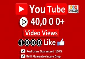 Get Organic 40,000+ YouTube Video Views & 1000+ Likes, Real Active Users, Non Droop / Refill-LifeTime Guaranteed.