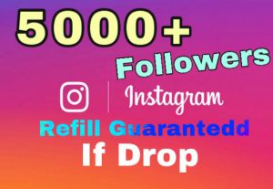 Get 5000+ Followers on Instagram instantly . 30 days refill guaranteed if drop.