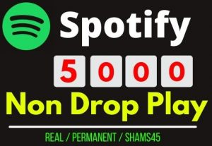 Get Instant 5000+ Spotify Track Plays , Real plays, Non drop and permanent