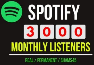 Add Instant 3000+ Spotify Monthly Listeners, Non drop and permanent , Guaranteed service