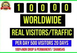 Get 10,000+ Worldwide Web Traffic, Per day 500 traffic -20 days