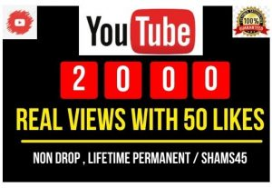 Add 2000+ Youtube Views with 50 likes, Real and high Retention, Non-drop and Permanent