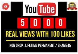 Add 5000+ YouTube Views with 100 likes, Real and high Retention, Non-drop and Permanent