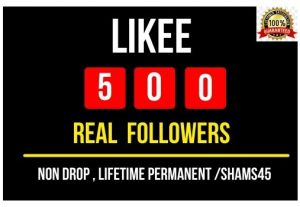 I will Provide 500+ Likee Real followers , Non drop and Permanent