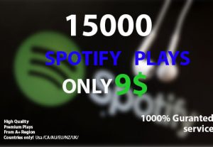 Get 15,000 Spotify Music Plays Only 9$