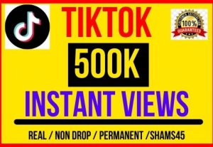 I will give 500K + TikTok Video Views , Instant start , Non drop and Lifetime permanent