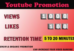 Youtube 1000 views with 100 likes 5 to 20 minutes retention time