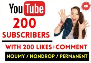 GET 200+ YOUTUBE SUBSCRIBERS WITH 200 LIKES AND COMMENT , NON DROP AND LIFETIME GUARANTEED