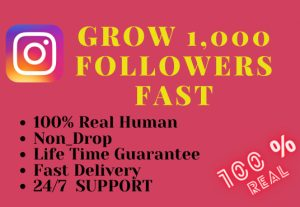 Get 1000 instagram followers – Non-drop – Fast delivery