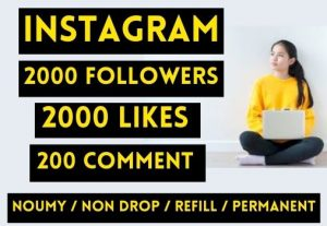 GET 2000+ INSTAGRAM FOLLOWERS + 2000 LIKES + 200 COMMENT ENGLISH AND RADOM , REAL AND NON DROP