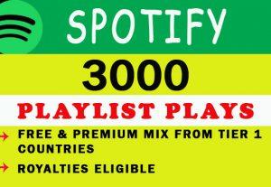 3000 Spotify Playlist Plays from TIER 1 Countries USA/CA/EU/AU/NZ/UK