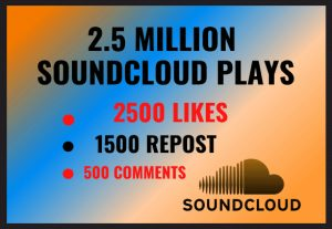 2.5 MILLION SOUNDCLOUD PLAYS 2500 LIKES,1500 REPOST, AND 500 COMMENTS
