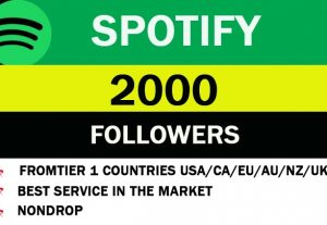 2000 Spotify Followers from TIER 1 countries