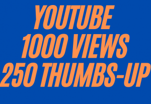 HIGH-QUALITY YOUTUBE VIDEO PROMOTION 1k VIEWS+250 THUMBS UP