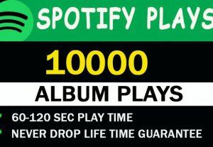 10,000 Spotify Album Plays Never drop Lifetime guaranteed