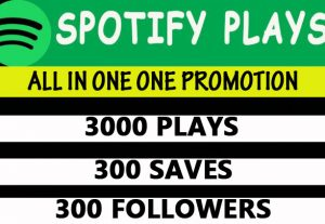 Spotify 3000 plays, 300 saves, 300 followers promotion
