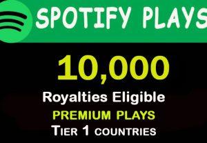 10,000+ HQ Spotify  plays from TIER 1 countries. USA/CA/EU/AU/NZ/UK