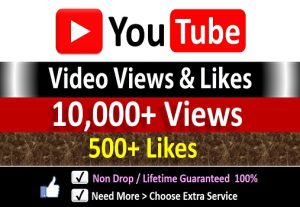Instant 10,000+ YouTube Video Views + 500 Likes to REAL Viewers, Non-Drop / incase Life Time Refill Guarantee