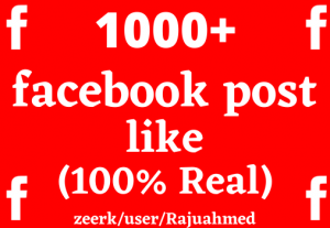 i will give you 1000+ facebook post like non drop life time permanent