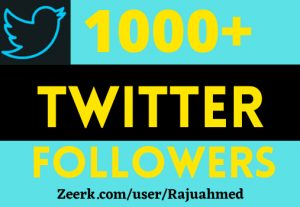 i will give you 1000+ TWITTER FOLLOWERS, NON DROP, TOP QUALITY ACTIVE PROFILES, BEST SERVICE IN MARKET