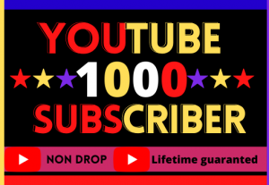 I Will Provide YouTube 1000 Subscribers.Organic, Non-Drop, High Quality, 100% Real And Life Time Guarantee
