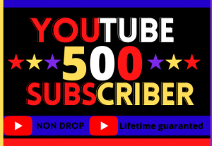 I Will Give Organic 500 Subscribers. Non-Drop, 100% real best quality and life time permanent