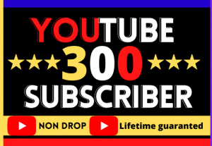 I Will Provide YouTube 300 Real Subscribers. Non-Drop, High Quality, Organic and Life Time permanent