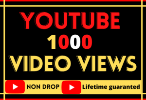 i will do fast youtube video 1000 views. best quality non-drop,organic and life time permanent