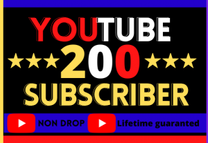 I Will Do Super Fast YouTube 200 Subscribers. Best Quality, Non-Drop, Organic, 100% Real And Life Time Guarantee
