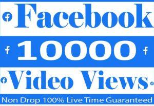 I Will Provide 10000+ Facebook video Views Real active User 100% Guaranteed