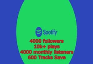 Get Spotify 4000 followers & 10k+ plays & 4000 monthly listeners & 600 Tracks Save