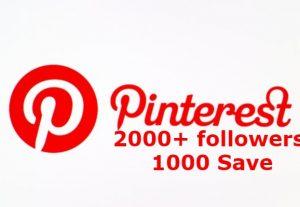 ADD you Pinterest 2000+ followers & 1000 Save