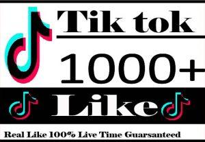 I Will provide 1000+ Tiktok Likes Active User Non Drop And Live Time guaranteed