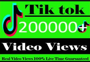 I Will Provide 200000+ Tiktok Video Views Non Drop And Active User Live Time Guaranteed