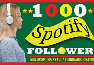 i will do fast spotify 1000 followers.100% real and organic life time guaranteed