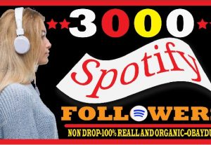 i will do fast spotify 3000 followers . non drop 100% real and organic