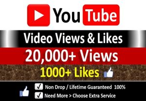 Instant 20,000+ YouTube Video Views + 1000+ Likes to REAL Viewers, Non-Drop / incase Life Time Refill Guarantee