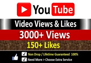 Get Instant 3000+ YouTube Video Views + 150 Likes to REAL Viewers, Non-Drop / incase Life Time Refill Guarantee