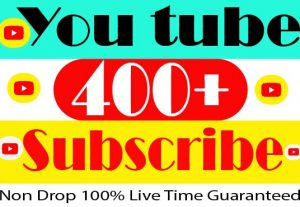 I will Provide your 400+ YouTube Subscribe Active User Non Drop And 100% Live Time Guaranteed