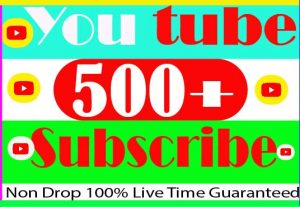 I Will provide your 500+ YouTube Subscribe Non Drop And 100% Live Time Guaranteed
