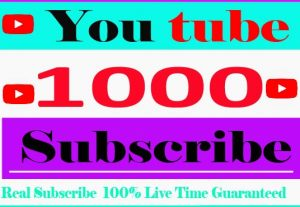 I Will Provide Your 1000+ YouTube Subscribe And Non Drop 100% Live Time Guaranteed