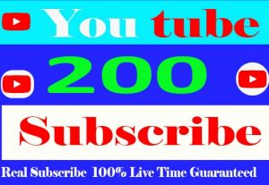 I Will Provide your 200+ YouTube Subscribe Real and Non Drop 100% Live Time Guaranteed