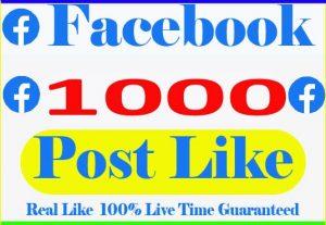 I will provide 1000% Facebook post Like Live time Guaranteed Non Drop