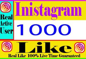 I will Provide 1000+ Instagram Like Real active User Non Drop And Live Time Guaranteed