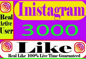 I Will Provide 3000+Instagram Like Real Active User Non Drop and Live Time Guaranteed
