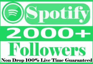 I will do organic 2000+spotify Followers Non Drop 100% Live Time Guaranteed