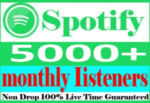 I will do 5000+ Spotify monthly listeners Non Drop And 100% Live Time Guaranteed