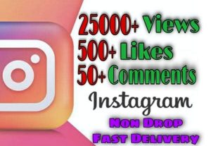 I will provide 25000+ Video Views and 500+ Likes more over 50+ Comments on Instagram!! Fast and HQ!!