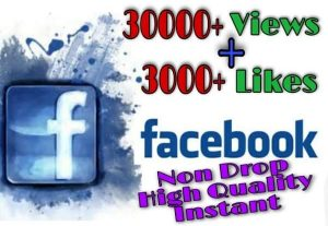 I will provide 30000+ Video Views and 3000+ Likes on Facebook!! Fast and HQ!!