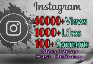 I will provide 40000+ Video Views and 1000+ Likes more over 100+ Comments on Instagram!! Fast and HQ!!